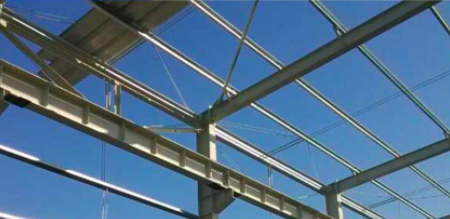 steel structure with beam support