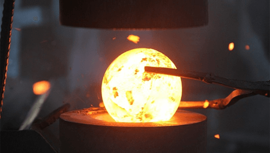 Forged Steel Grinding Ball being made.