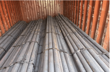 Steel Grinding Rods ready to be shipped in bundles.